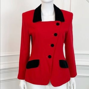 Vintage Albert Nipon Red Wool Velvet Trim Blazer